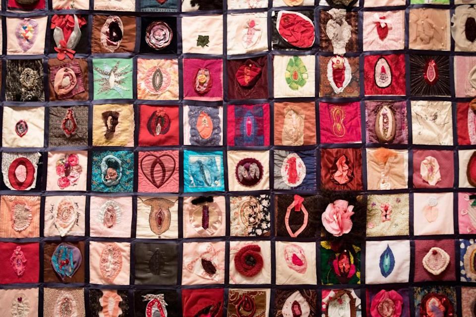 Vulva quilt, 2009-13, conceived to raise awareness of female genital mutilation
