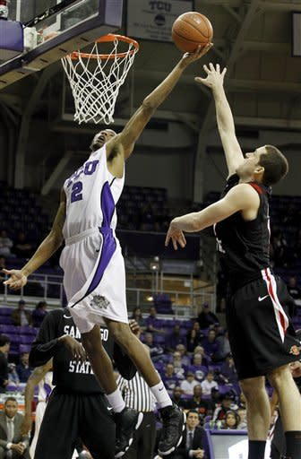 TCU forward Connell Crossland (2) and San Diego State guard James Rahon (11) fight for a rebound in the first half of an NCAA college basketball game Saturday, March 3, 2012, in Fort Worth, Texas. (AP Photo/Sharon Ellman)