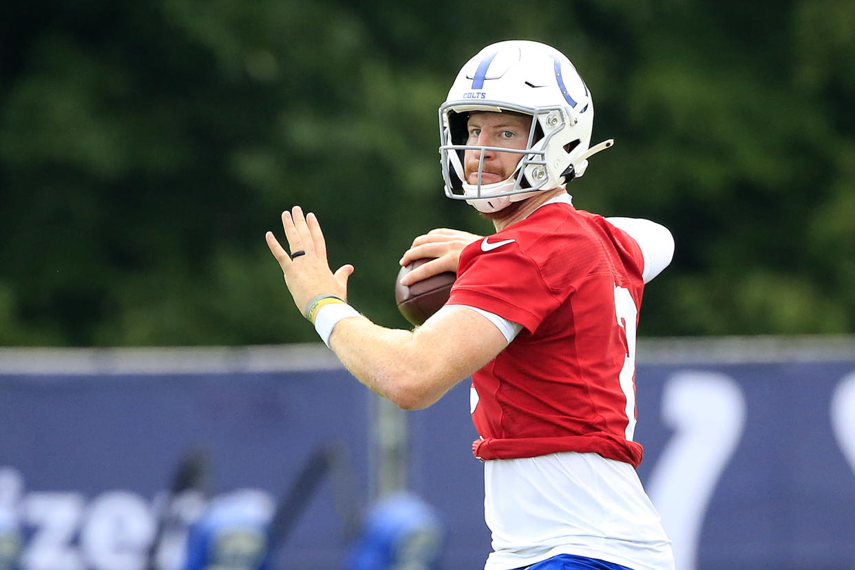 WESTFIELD, INDIANA - JULY 28: Carson Wentz #2 of the Indianapolis Colts throws a pass during the Indianapolis Colts Training Camp at Grand Park on July 28, 2021 in Westfield, Indiana. (Photo by Justin Casterline/Getty Images)