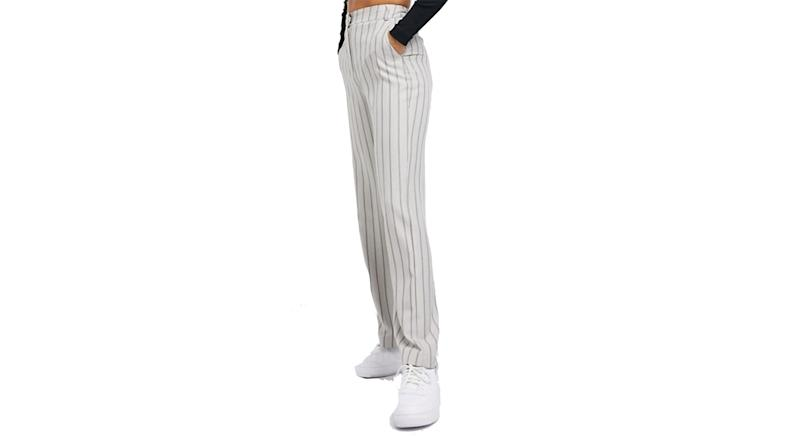 COLLUSION straight leg trouser in beige pinstripe