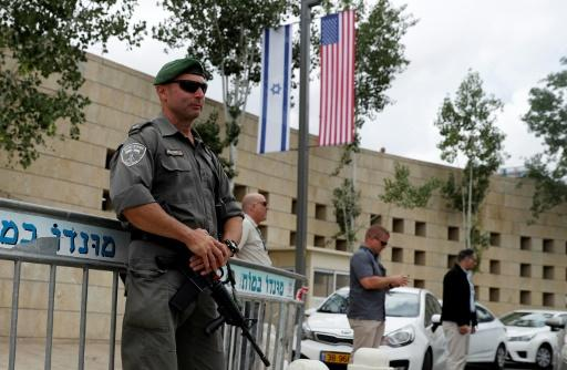 Israeli security forces stand guard outside the US consulate in Jerusalem, which will host Washington's new US embassy, on May 13, 2018