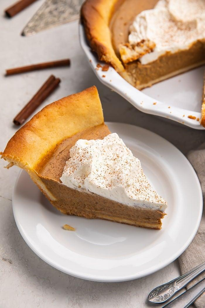 """<p>Take it from us: you can absolutely enjoy pumpkin pie at any time of year, especially when it's as tasty as this one. It's higher in carbs for a keto diet (24 grams), but contains only three grams of sugar per slice. </p> <p>Get the recipe: <a href=""""https://40aprons.com/easy-keto-pumpkin-pie/"""" class=""""link rapid-noclick-resp"""" rel=""""nofollow noopener"""" target=""""_blank"""" data-ylk=""""slk:easy keto pumpkin pie"""">easy keto pumpkin pie</a></p>"""