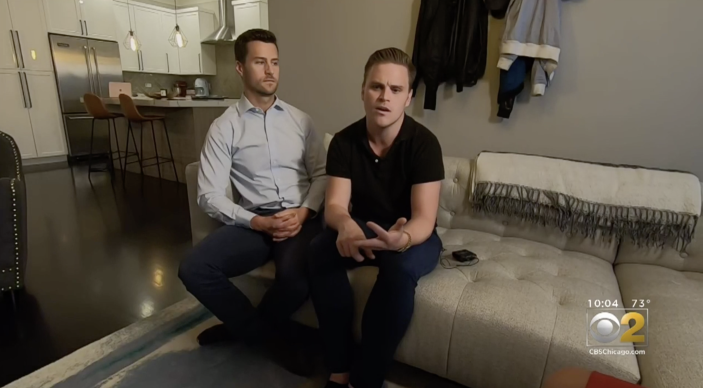 After recovering from COVID-19, Dr. Dillon Barron (R) and his partner Eric Seelbach (L) say they are not allowed to donate plasma due to FDA restrictions. (Screenshot: CBS 2)