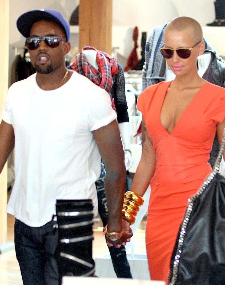 """Rapper Kanye West and his lady love, Amber Rose, get their shop on at Intermix, one of LA's trendiest boutiques on Robertson Boulevard. MVP/<a href=""""http://www.x17online.com"""" target=""""new"""">X17 Online</a> - September 3, 2009"""