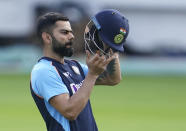 India's Virat Kohli prepares to bat during a nets session at Headingley cricket ground in Leeds, England, Monday, Aug. 23, 2021, ahead of the 3rd Test cricket match between England and India. (AP Photo/Jon Super)