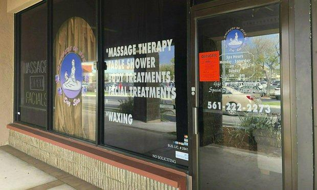 One man's lawsuit claims Jupiter Police Department were wrong to record him having a non-sexual massage during an undercover sting at the Orchids of Asia Day Spa. Photo: Hannah Morse/Palm Beach Post via AP.