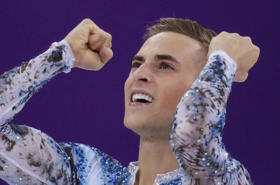 Adam Rippon reacts after his performance that helped the United States win bronze in the team skate event. (AP)