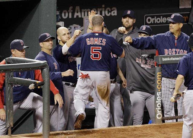 Boston Red Sox Jonny Gomes is greeted by teammates in the dugout after scoring on a single by David Ross in the fourth inning of a baseball game against the Baltimore Orioles, Saturday, Sept. 28, 2013, in Baltimore. (AP Photo/Patrick Semansky)