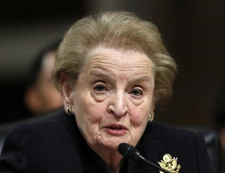 Former United States Secretary of State Madeleine Albright testifies at the Senate Armed Services Committee on global challenges and U.S. national security strategy on Capitol Hill in Washington January 29, 2015.   REUTERS/Gary Cameron