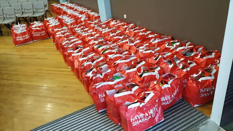 Hampers for the Boys' Brigade Share-a-Gift charity project. (PHOTO: Facebook/Boys Brigade Share-a-Gift)