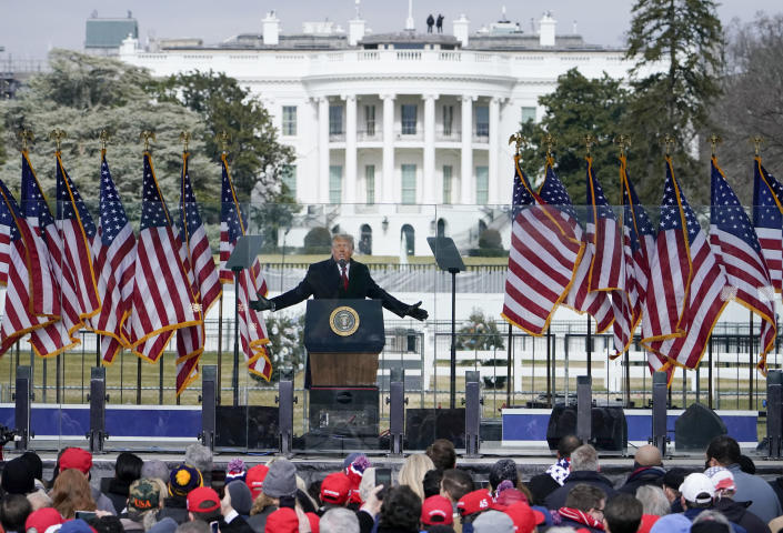FILE - In this Jan. 6, 2021, file photo with the White House in the background, President Donald Trump speaks at a rally in Washington. The request seeks records about events leading up to the Jan. 6 attack, including communication within the White House and other agencies, and information about planning and funding for rallies held in Washington, including an event at the Ellipse featuring then-President Donald Trump before thousands of his supporters stormed the Capitol. (AP Photo/Jacquelyn Martin, File)