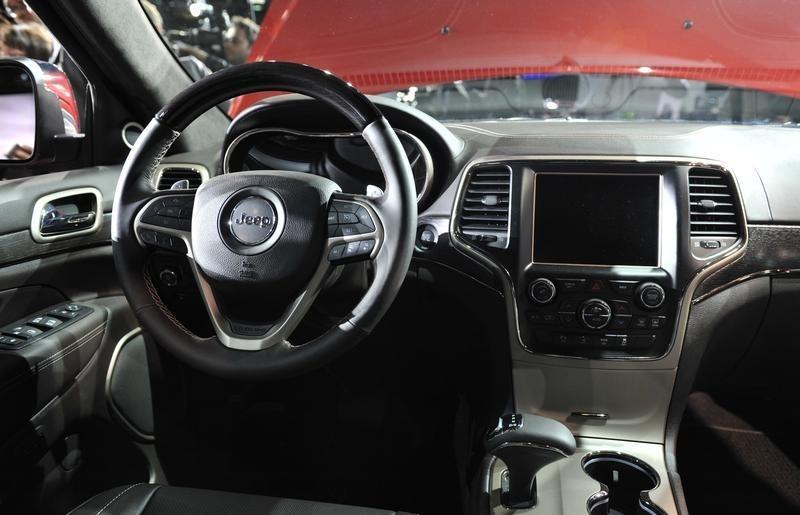 View of the interior of the 2014 Jeep Grand Cherokee at the North American International Auto Show in Detroit
