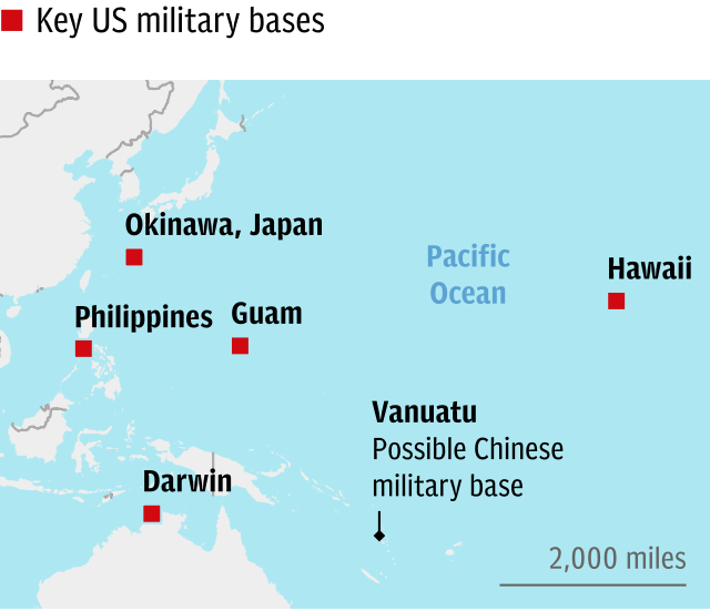 Key US military bases in the Pacific
