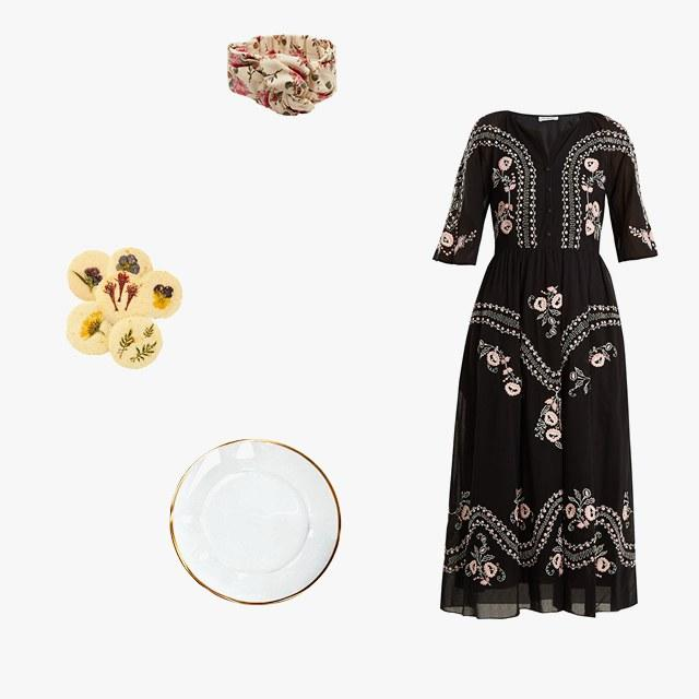 Untitled Homeware gold-painted glass dessert plate, $34, barneys.com; Lori A. Stern signature cookies, $48 per dozen, for information: loriastern.com; Gucci floral-print leather headband, $1,180, matchesfashion.com; Vilshenko Geneve embroidered short-sleeved cotton dress, $1,171, matchesfashion.com