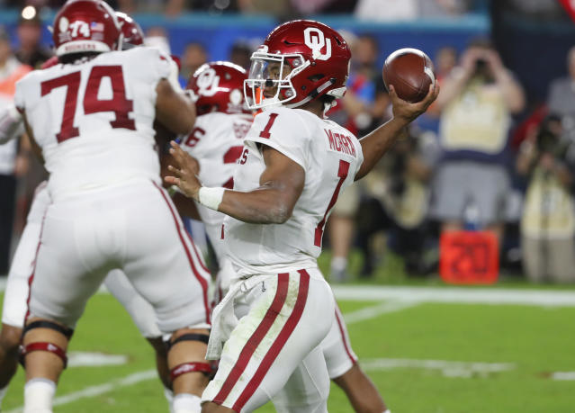 Oklahoma quarterback Kyler Murray says he has officially put his name in the NFL draft. (AP Photo/Wilfredo Lee, File)