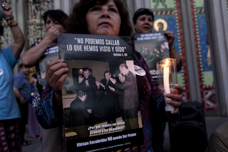 People protest againstJuan Barros, current Bishop of Osorno, in front of a cathedral in Osorno, Chile, on Feb. 23, 2018. Abuse victims say Barros witnessed abuse by Chile's the Rev. Fernando Karadima, who was convicted in 2011. (NurPhoto via Getty Images)