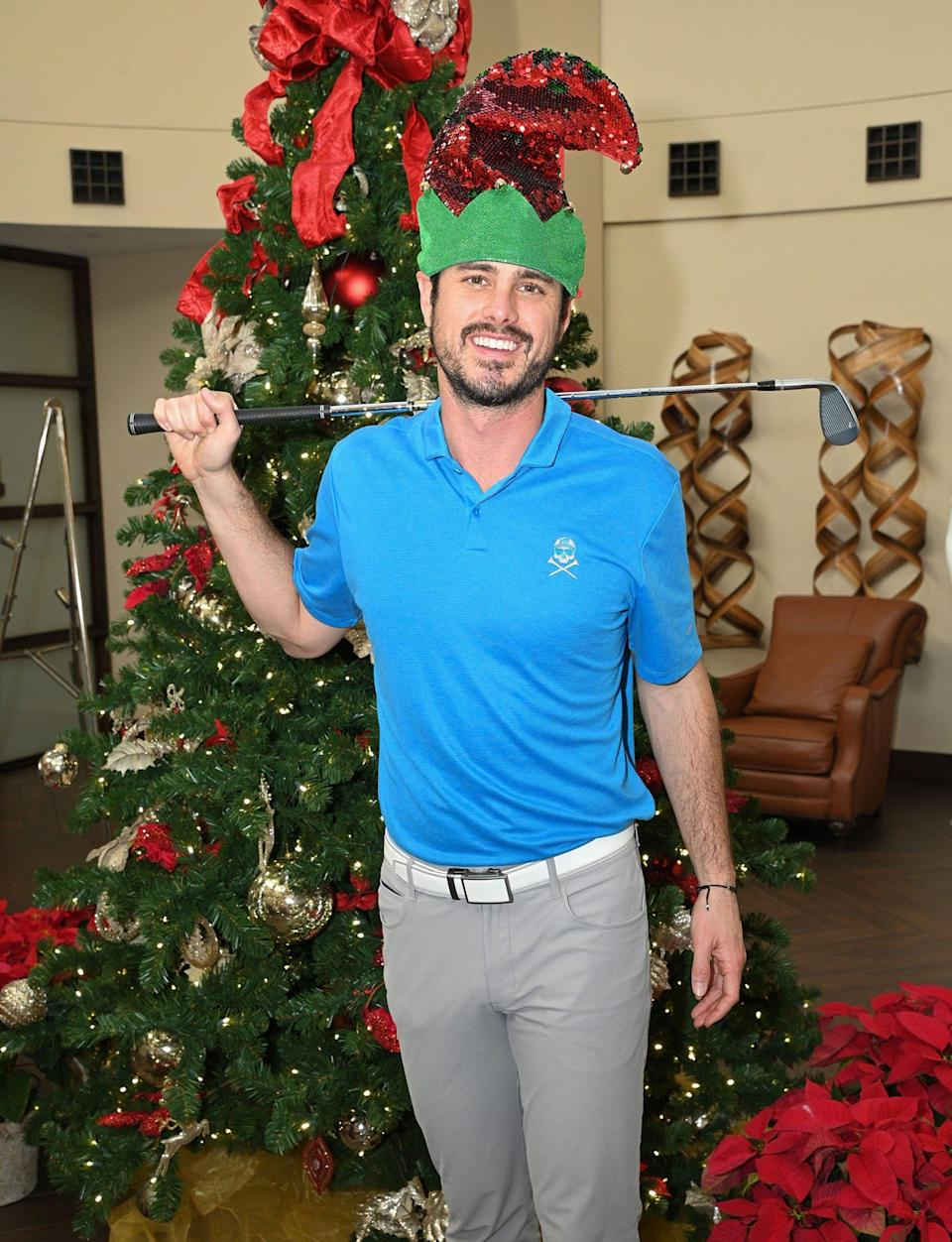 <p><em>The Bachelor</em>'s Ben Higgins shows off his sporty side during a press conference for next month's Diamond Resorts Tournament of Champions golf event in Lake Buena Vista, Florida.</p>