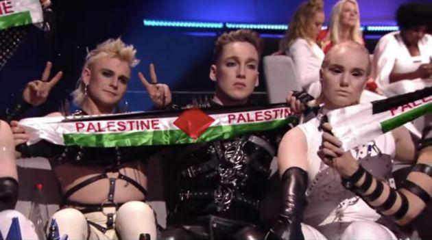 Icelandic act Hatari help up Palestine flags during the live Eurovision broadcast