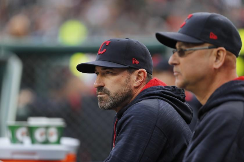 "FILE - Cleveland Indians pitching coach Mickey Callaway, left, watches with manager Terry Francona during the first inning of a baseball game against the Detroit Tigers, in Detroit, in this May 3, 2017, file photo. Indians manager Terry Francona said no one in the Cleveland organization ""covered up"" for former pitching coach Mickey Callaway, who is under investigation by Major League Baseball following allegations of sexual harassment.In a story Tuesday, March 2, 2021, The Athletic reported that 12 current and former Indians employees have come forward in the last month to say the Indians were aware of Callaway's inappropriate behavior while he was their pitching coach from 2013-17. (AP Photo/Paul Sancya, File)"