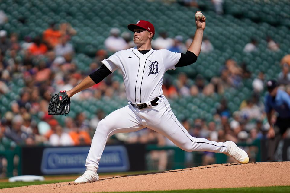 Detroit Tigers pitcher Tarik Skubal throws against the Chicago White Sox in the first inning of a baseball game in Detroit, Saturday, July 3, 2021.