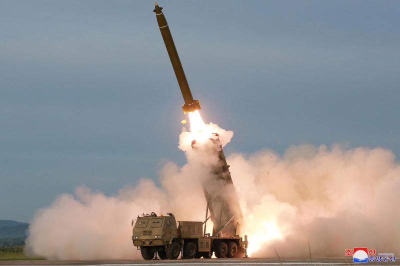 "This Saturday, Aug. 24, 2019, photo provided Sunday, Aug. 25, by the North Korean government, shows the test firing of an unspecified missile at an undisclosed location in North Korea. North Korea fired two suspected short-range ballistic missiles off its east coast on Saturday in the seventh weapons launch in a month, South Korea's military said, a day after it vowed to remain America's biggest threat in protest of U.S.-led sanctions on the country. The content of this image is as provided and cannot be independently verified. Korean language watermark on image as provided by source reads: ""KCNA"" which is the abbreviation for Korean Central News Agency. (Korean Central News Agency/Korea News Service via AP)"