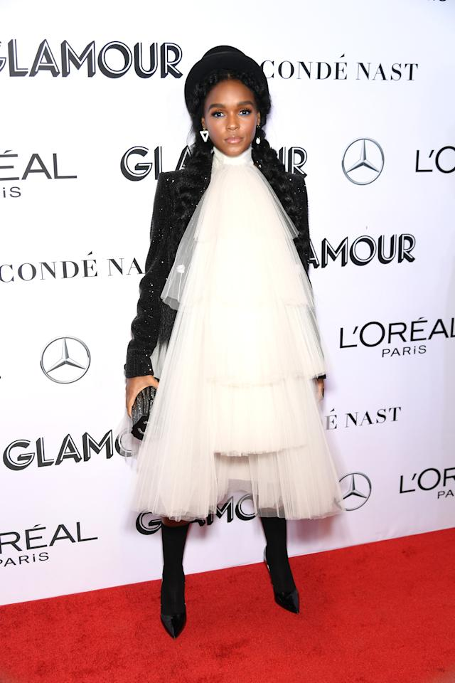 <p>Janelle made a style statement in a layered, tulle dress by French fashion house Jean Paul Gaultier.<em>[Photo: Getty]</em> </p>