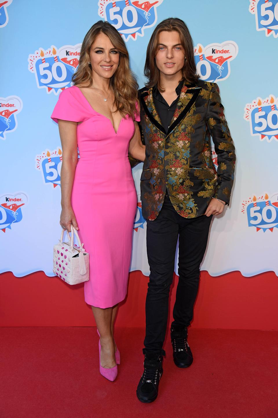 UK actress Elizabeth Liz Hurley and her son Damian Hurley during the 50th anniversary celebration of the brand Kinder