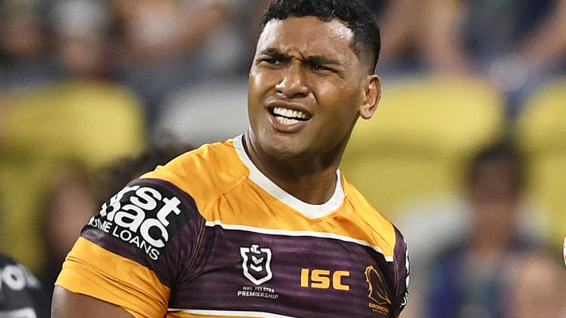 Tevita Pangai Jr is pictured during an NRL game for the Brisbane Broncos.