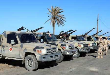 Military vehicles of Misrata forces, under the protection of Tripoli's forces, are seen in Tajura neighborhood, east of Tripoli, Libya April 6, 2019. REUTERS/Hani Amara