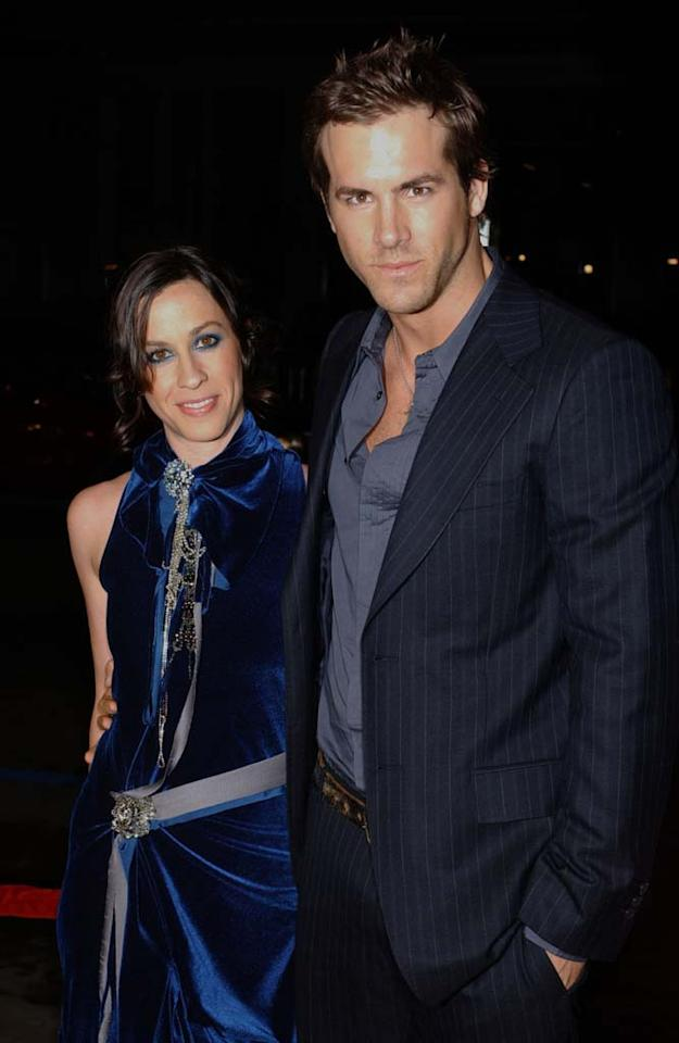 "After four years of dating, fellow Canadians Alanis Morissette and Ryan Reynolds mutually decided to call off their engagement. Although Reynolds has moved on to Scarlett Johansson, so far Morissette hasn't written a follow-up song to her hit, ""You Oughta Know."" Albert L. Ortega/<a href=""http://www.wireimage.com"" target=""new"">WireImage.com</a> - July 28, 2007"
