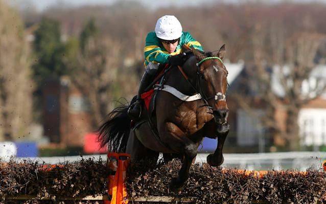 Barry Geraghty riding Buveur D'Air at Sandown in February - PA
