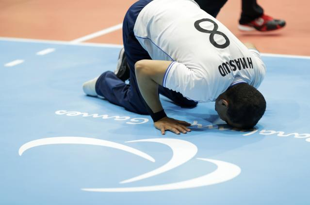 2016 Rio Paralympics - Sitting Volleyball - Men's Bronze Medal Match - Riocentro Pavilion 6 - Rio de Janeiro, Brazil - 18/09/2016. Hossam Massoud (EGY) of Egypt reacts after winning the match. REUTERS/Ueslei Marcelino FOR EDITORIAL USE ONLY. NOT FOR SALE FOR MARKETING OR ADVERTISING CAMPAIGNS.