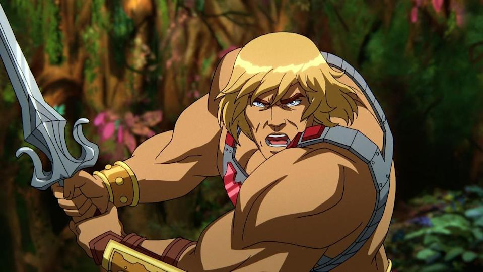 He-Man looks on angrily while wielding a sword in a still from Masters of the Universe: Revelation.