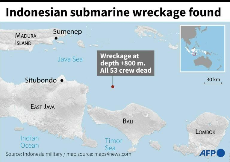 Wreckage of missing Indonesian submarine found, 53 crew dead