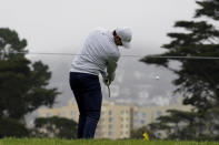 Rory McIlroy of Northern Ireland, hits on the range during practice for the PGA Championship golf tournament at TPC Harding Park Wednesday, Aug. 5, 2020, in San Francisco. (AP Photo/Charlie Riedel)