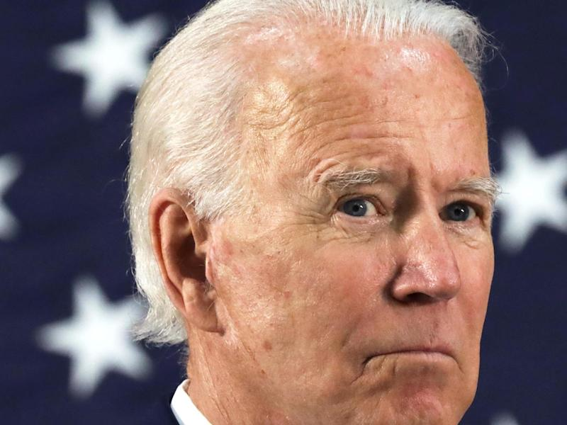 Democratic presidential candidate, former Vice President Joe Biden listens during a campaign event on 30 June: (2020 Getty Images)