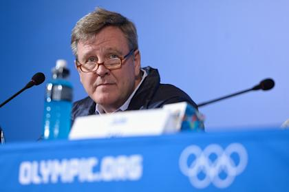 U.S. Olympic Committee CEO Scott Blackmun looks on during a press conference at the Sochi Olympics. (Getty)