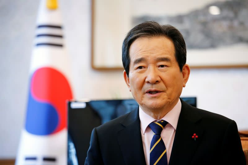 South Korea's Prime Minister Chung Sye-kyun speaks during an interview with Reuters in Seoul