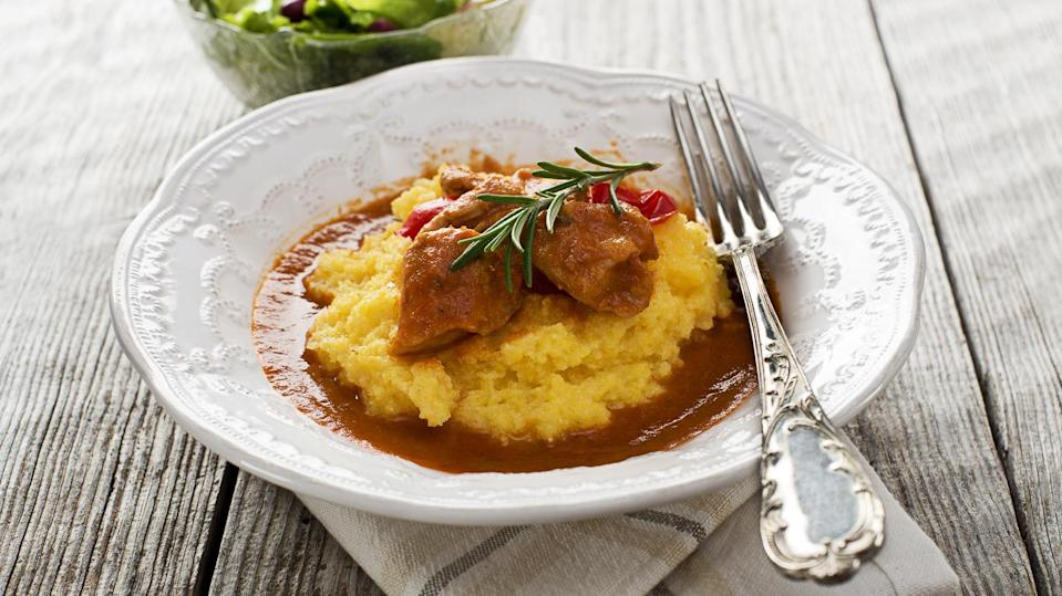 Baked Chicken Legs With Soft Polenta