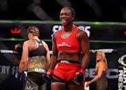 """<p><strong>Sport: </strong>Boxing/MMA<br></p><p>At the 2016 Rio Games, Shields was awarded her second gold medal in boxing. She's known as the <a href=""""https://www.theguardian.com/sport/2021/jun/11/olympic-boxing-champion-claressa-shields-wins-mma-debut-by-tko"""" rel=""""nofollow noopener"""" target=""""_blank"""" data-ylk=""""slk:fastest fighter in history"""" class=""""link rapid-noclick-resp"""">fastest fighter in history</a> to become a champion in three separate divisions, as she has a title in light middleweight, middleweight, and super middleweight. These feats have inspired Shields to dub herself the GWOAT (Greatest Woman Of All Time) in boxing. However, in June 2021, she made a triumphant career switch to MMA, winning her first match in the sport with a TKO. A movie written and produced by Barry Jenkins is currently being made about her life.</p>"""