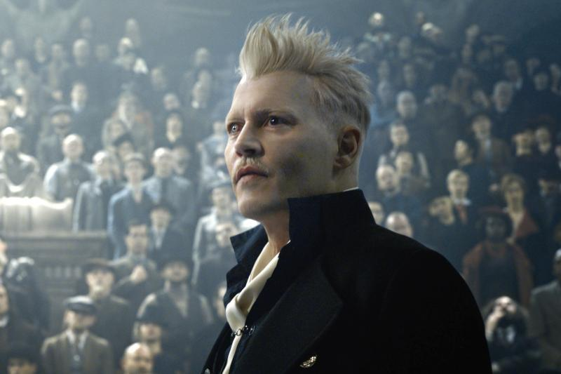 Johnny Depp as the villainous Grindelwald in Fantastic Beasts 2