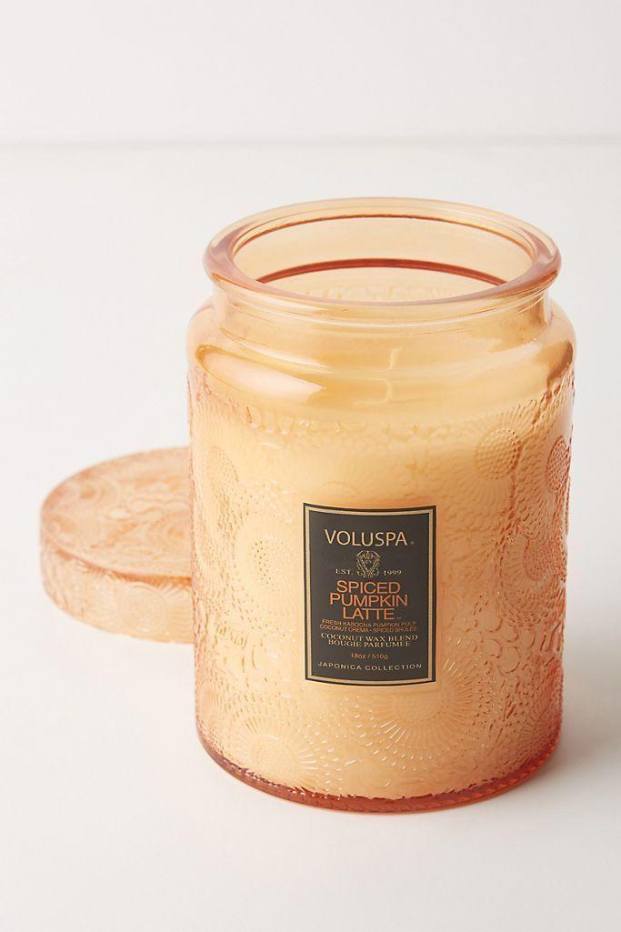 """<p><strong>Voluspa Anthropologie</strong></p><p>anthropologie.com</p><p><strong>$32.00</strong></p><p><a href=""""https://go.redirectingat.com?id=74968X1596630&url=https%3A%2F%2Fwww.anthropologie.com%2Fshop%2Fvoluspa-japonica-spiced-pumpkin-latte-jar-candle&sref=https%3A%2F%2Fwww.oprahmag.com%2Flife%2Fg27562264%2Fbest-fall-scented-candles%2F"""" rel=""""nofollow noopener"""" target=""""_blank"""" data-ylk=""""slk:Shop Now"""" class=""""link rapid-noclick-resp"""">Shop Now</a></p><p>Coconut crema and spiced brulee set off this luxurious pumpkin latte candle.</p>"""