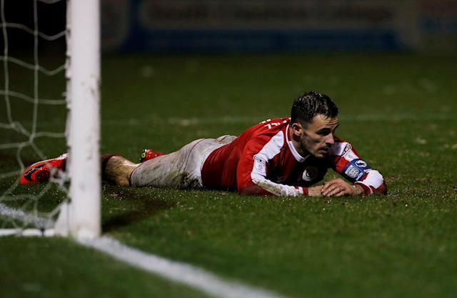 Soccer Football - FA Cup Second Round Replay - Crewe Alexandra vs Blackburn Rovers - The Alexandra Stadium, Crewe, Britain - December 13, 2017 Crewe Alexandra's Chris Dagnall looks dejected Action Images/Craig Brough