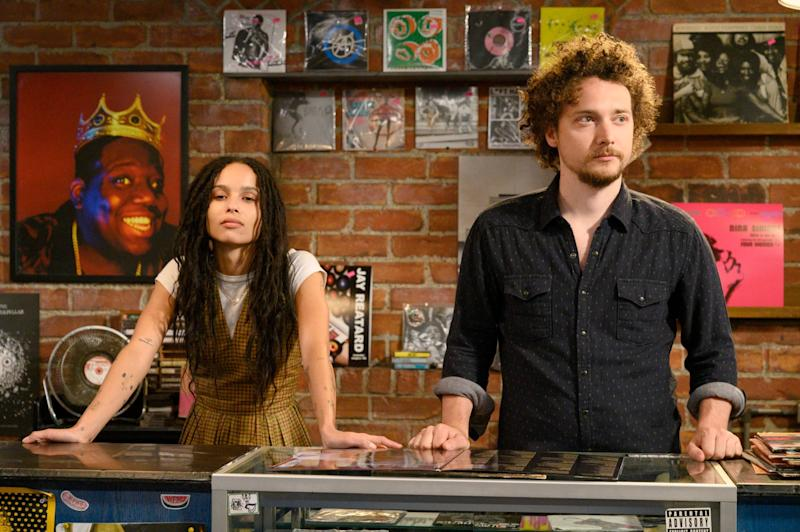 HIGH FIDELITY, from left: Zoe Kravitz, David H. Holmes, 'Weird...But Warm, (Season 1, Episode 106, aired Feb. 14. 2020). photo: Phillip Caruso / Hulu / Courtesy Everett Collection