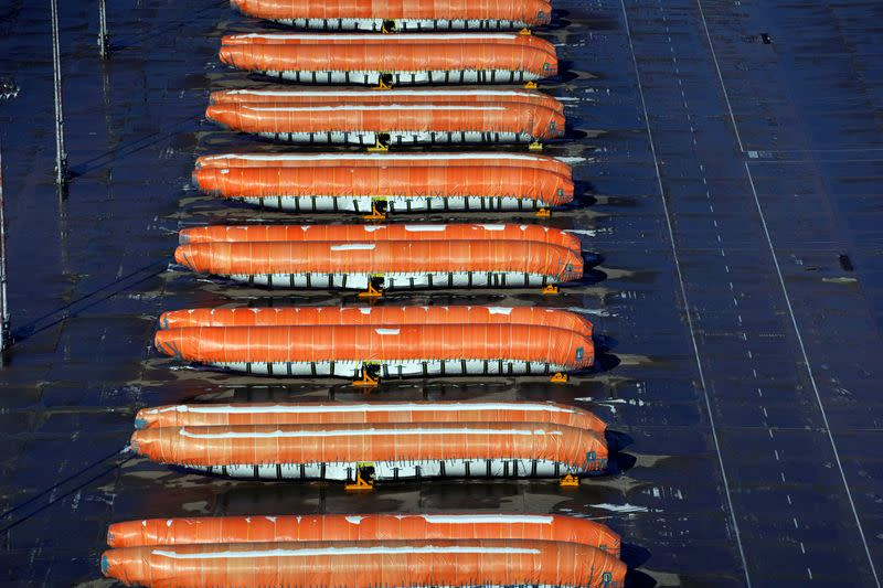 Airplane fuselages bound for Boeing's 737 Max production facility sit in storage at their top supplier, Spirit AeroSystems Holdings Inc, in Wichita