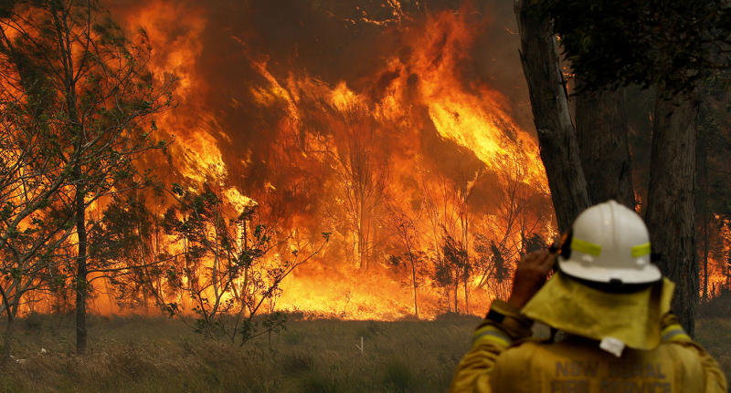 A firefighter on property protection watches the progress of bushfires in Old Bar, NSW, Saturday, November 9, 2019. Two people have been killed and seven others are missing in bushfires in NSW which have also destroyed at least 100 homes. (AAP Image/Darren Pateman) NO ARCHIVING