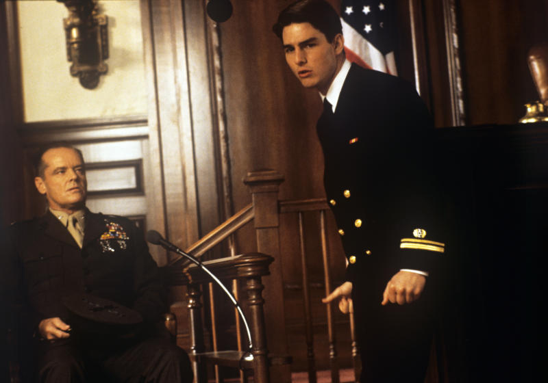 American actor Jack Nicholson playing the role of a colonel and American actor Tom Cruise playing the role of a lawyer acting in the film A Few Good Men. 1992 (Photo by Mondadori Portfolio via Getty Images)