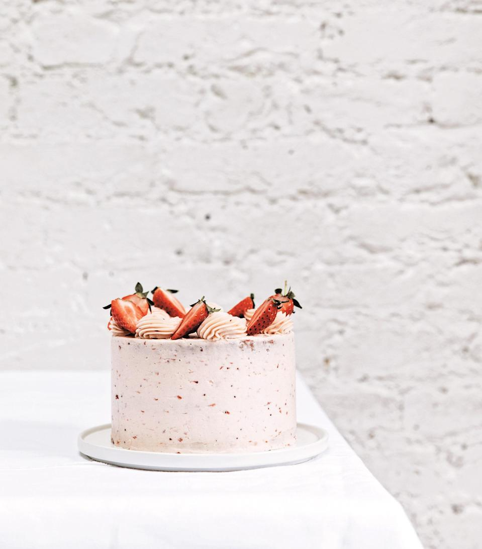 "This is quite the celebration cake and is my go-to when I want a summery showstopper. Roasting the strawberries is a real game-changer and brings out such an intense, sweet flavor, it's well worth the extra step. When the roasted strawberry purée merges into the Swiss meringue buttercream, it creates a creamy flavor reminiscent of strawberry ice cream. Swiss meringue buttercream requires a few more steps than a classic buttercream but has a much lighter and silkier texture and carries the strawberry flavor exceptionally well. As it is quite an involved cake, you can make the strawberries and cake layers in advance and then prepare the buttercream on the day you will assemble. <a href=""https://www.epicurious.com/recipes/food/views/roasted-strawberry-layer-cake-new-way-to-cake?mbid=synd_yahoo_rss"" rel=""nofollow noopener"" target=""_blank"" data-ylk=""slk:See recipe."" class=""link rapid-noclick-resp"">See recipe.</a>"
