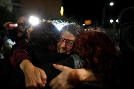 Ozlem Dalkiran, a member of the Turkish arm of the Citizens' Assembly, a European rights group reacts after being released from the Silivri prison complex near Istanbul, Turkey, October 26, 2017. REUTERS/Osman Orsal