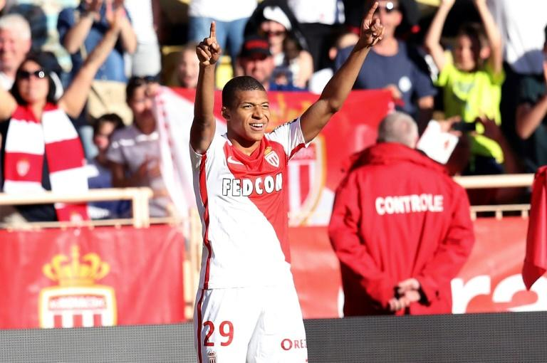 Monaco's forward Kylian Mbappe Lottin celebrates after scoring a goal on April 29, 2017